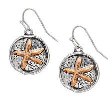 Two Tone Metal Sand Dollar Fashionable Earrings - Fish Hook - 2 Colors