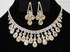 Wedding Gold W. Rhinestone Crystal Necklace and Teardrop Earrings Set