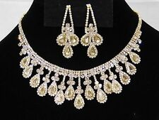 Wedding Gold W. Rhinestone Crystal Necklace and Teardrop Earrings Set