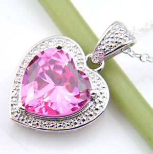 """White Gold Silver Spade Heart CZ Crystal Pendant Necklace 18"""" Chain Gift Box S3"""