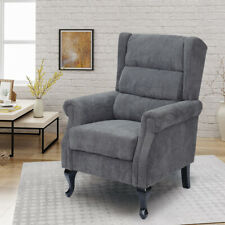 Corduroy Orthopedic High Back Chair Winged Upholstered Fabric Sofa Seat Armchair