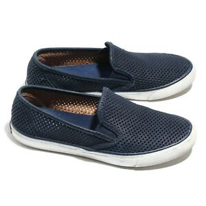 Sperry Topsider sts95716 Womens Slip On Sneakers Blue Perforated Leather Size 8M