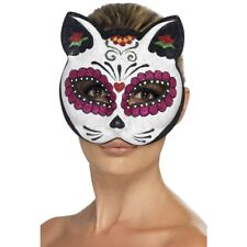Adult Sugar Skull Eye Mask Cat Day of The Dead Skeleton Halloween Fancy Dress