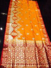 Banaras Koorai Bridal Indian Silk Saree Cut Work Maroon Orange Bollywood Sari