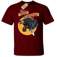 Beware The Wolves T-Shirt Mens wolf tattoo dagger sword cool art