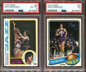 1978 TOPPS & 1979 TOPPS PETE MARAVICH PSA 6 & 7 LOT pack fresh