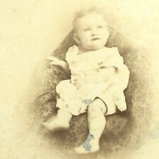 CUTE Baby Cabinet Card Antique Photograph Mounted Photo Rockford, IL Distressed