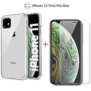 Cover For IPHONE 11 / Pro Max Silicone Soft TPU + Film Tempered Glass 9H