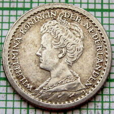 NETHERLANDS WILHELMINA 1917 10 CENTS SMALL SILVER WWI COINAGE