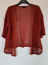 New New Look Brown Leaf Lace Geometric Pattern Cardigan Boho Festival Size 10