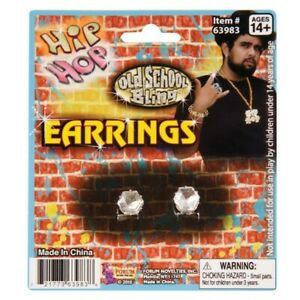 Big Diamond Stud Clip On Earrings Retro Pimp 80s 90s Gangster Costume Jewellery
