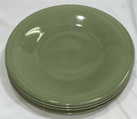 "(Set of 4) Pottery Barn Crackle Green Round Dinner Plates  - 11 1/4"" - Japan"