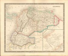 1843 ANTIQUE MAP- DOWER - SOUTH AMERICA - COLUMBIA, PANAMA CANAL