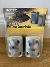 Vintage SONY MINI SPEAKER SYSTEM SRS-P3 FOR Walkman Silver Clear Sound New
