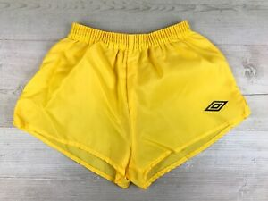 "Umbro Vintage 80's High Cut Nylon Yellow Football Shorts, Sz 24-26"" Inch waist"