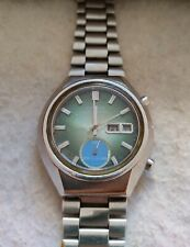 Seiko 6139-8040 Sport Chronograph Automatic Watch Vintage Dial Green To Restore