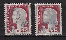 45d**Lot x 2 timbres 1960 Marianne Decaris (n°1263) Variété (décalage)