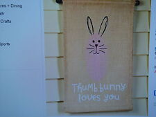 NEW PINK THUMB BUNNY LOVES YOU BANNER RABBIT EASTER HOME DECOR