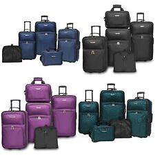 Traveler's Choice Ultimate 5pc Expandable Wheeled Luggage Suitcase Tote Bag Sets