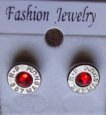 BULLET EARRINGS   357 MAGNUM  S/S WITH (JULY) RED SWAROVSKI CRYSTAL   NEW UNUSED