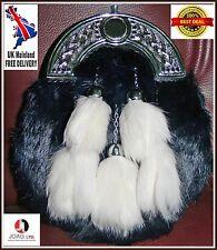 Fourrure de lapin 5 Tassel Robe Kilt Sporran Noir Émaillé avec Chaîne de Sangle Kilt SPORAN