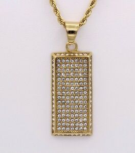 YELLOW DOG TAG STAINLESS STEEL WHITE RHINESTONES 1.5' INCH