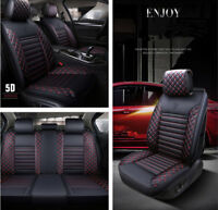 Deluxe Edition Car Front+Rear 5 Seats Cover Set Surrounded Anti-slip PU Leather