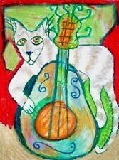 Cat Playing Guitar Folk Art Print 4 x 6 Vintage Style Signed by Artist KSams
