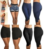 Sports Cycling Shorts Yoga Pants Knee Length Leggings Gym 8 10 12 14 16 18 20 22