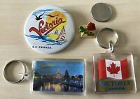 Lot of 4 Victoria British Columbia Canada Pin Button Keychains Key Rings #34557