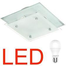 LED Deckenleuchte Metall Chrom EchtGlas, Klar-Satiniert, Spiegel, Edel & Modern