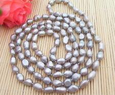 "Baroque Pearl Necklace Natural! 46"" 12Mm Grey"