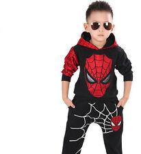 2PCS Baby Boys Kids Spiderman Cartoon Cosplay Costume Halloween Hooded Top Pants