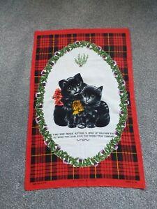 "vintage tea towel ""SCOTTISH KITTENS""  LINEN COTTON MIX"
