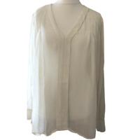Next Blouse UK 20 Cream Beige Pullover Long Sleeve Pleated Detail Plus Size BNWT