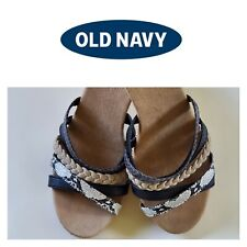 Old Navy Blk/Beige/Snakeskin Strappy Wedges Sz. 7