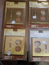 (4) Satin BRASS OUTLET SWITCH PLATE COVERS Miami Carey NOS Combo
