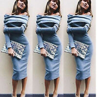 Womens Long Sleeve Off Shoulder Maxi Bodycon Evening Cocktail Party Pencil Dress