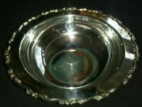 "ONEIDA Silverplate BOWL Dish Ornate Raised Rim WideLip 10.5""x3"" SILVER PLATE USA"