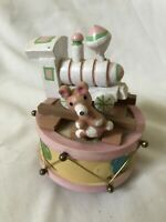 Vintage Pink Train Wind-up Wood Music Box Musical It's a Small World
