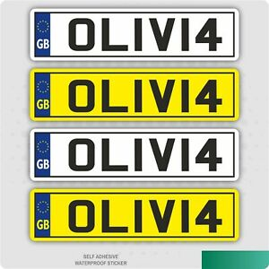 4 x Kids Personalised Number Plates Toy Children Ride On Car Sticker