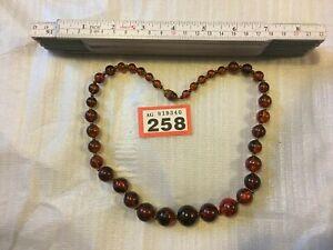 Amber Acrylic Beads Necklace Vintage Art Deco Lady Costume Jewellery #258