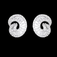 FANCY++ CUBIC ZIRCONIA TAPER CZ DESIGN NATURAL RARE STERLING SILVER 925 EARRING