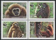 LAOS N°1682/1685** se tenant en bloc de 4, Singe, 2008 Monkeys Block MNH