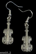 Hand Made Silver Colour Violin  Earrings HCE286