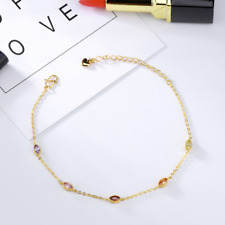 Women adjustable Gold Diamond Charm Stainless Steel Chain Anklet Jewelry KZ746