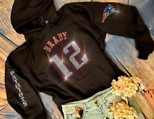 New Women's Tom Brady New England Patriots Hoodie Sweatshirt XL Rhinestones