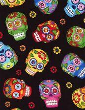 Timeless Treasures Fabric - Sugar Skulls - Black - 100% Cotton