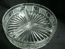 "ABP Cut Glass Divided Bowl Tray Dish with Dot Starburst 8"" diam 2"" deep"