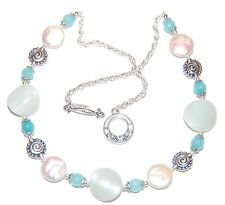 Blue AMAZONITE, Aqua APATITE Gemstone, Pearl Coin & Tibetan Silver Necklace